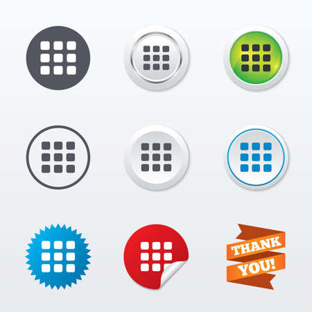 thumbnails: Thumbnails grid sign icon. Gallery view option symbol. Circle concept buttons. Metal edging. Star and label sticker. Vector