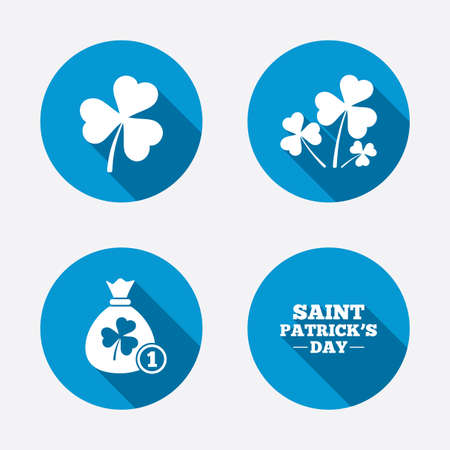 clover buttons: Saint Patrick day icons. Money bag with clover and coin sign. Trefoil shamrock clover. Symbol of good luck. Circle concept web buttons. Vector
