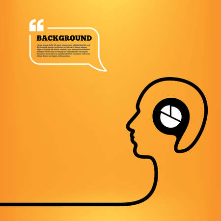 Head think with speech bubble. Pie chart graph sign icon. Diagram button. Orange background with quotes. Vector
