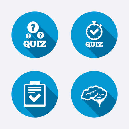 web survey: Quiz icons. Human brain think. Checklist and stopwatch timer symbol. Survey poll or questionnaire feedback form sign. Circle concept web buttons. Vector Illustration
