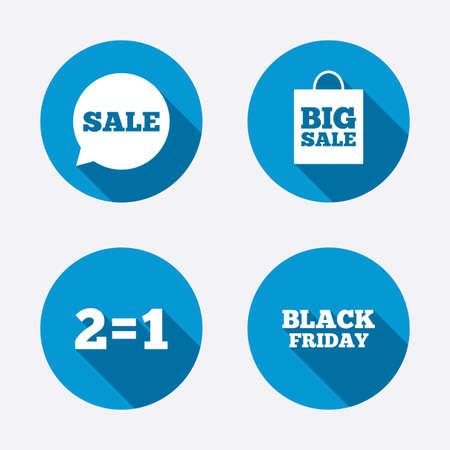 equals: Verkauf Sprechblase Symbole. Zwei gleich eins. Schwarze Freitag-Zeichen. Big Verkauf Einkaufstasche Symbol. Kreis-Konzept Web-Schaltfl�chen. Vektor Illustration