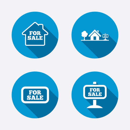 house for sale: For sale icons. Real estate selling signs. Home house symbol. Circle concept web buttons. Vector Illustration