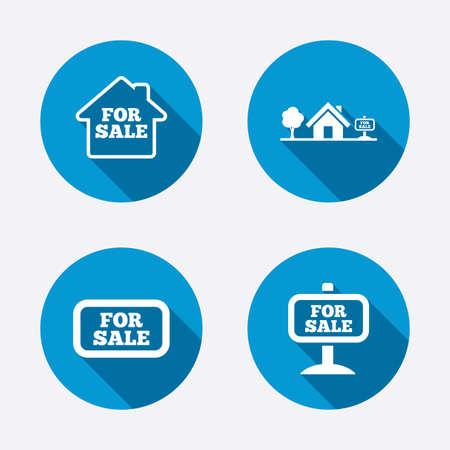 Pour vendre icônes. Vente immobilière signes. Accueil symbole de la maison. Cercle boutons notion web. Vecteur Banque d'images - 37580601