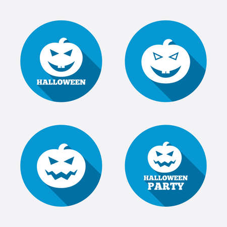 hallows: Halloween pumpkin icons. Halloween party sign symbol. All Hallows Day celebration. Circle concept web buttons. Vector
