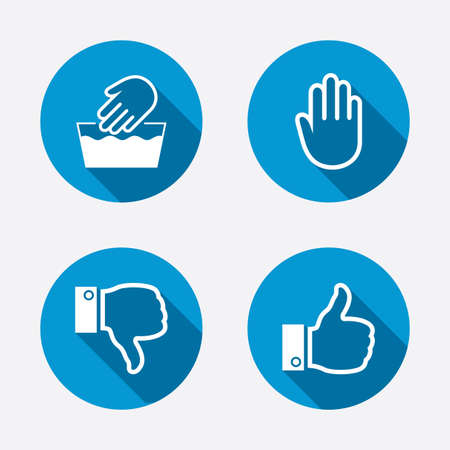 thumbs: Hand icons. Like and dislike thumb up symbols. Not machine washable sign. Stop no entry. Circle concept web buttons. Vector