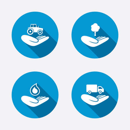 Helping hands icons. Agricultural tractor insurance symbol. Delivery truck sign. Save nature forest. Water drop. Circle concept web buttons. Vector Vector