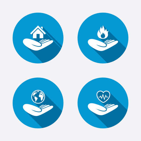 Helping hands icons. Health and travel trip insurance symbols. Home house or real estate sign. Fire protection. Circle concept web buttons. Vector Vector