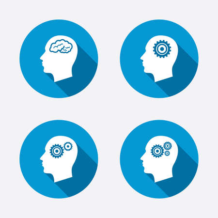 blue brain: Head with brain icon. Male human think symbols. Cogwheel gears signs. Circle concept web buttons. Vector Illustration