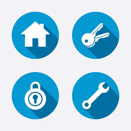 Home key icon. Wrench service tool symbol. Locker sign. Main page web navigation. Circle concept web buttons. Vector