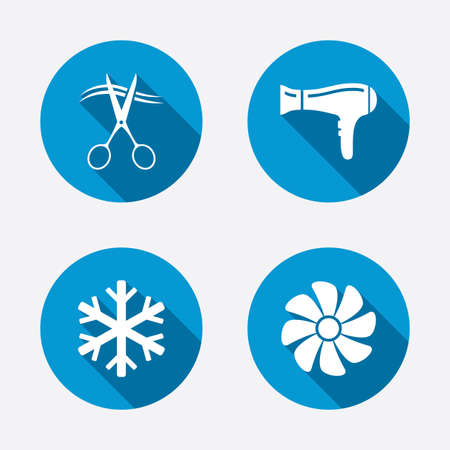 room air: Hotel services icons. Air conditioning, Hairdryer and Ventilation in room signs. Climate control. Hairdresser or barbershop symbol. Circle concept web buttons. Vector