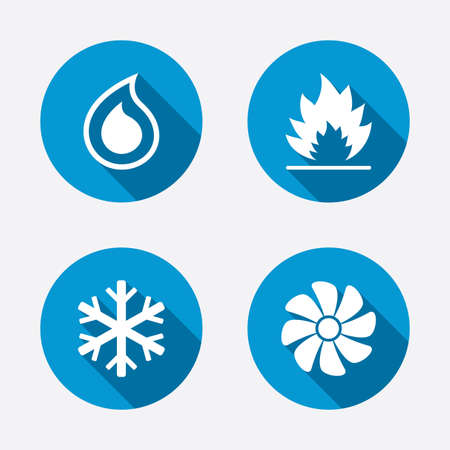 HVAC icons. Heating, ventilating and air conditioning symbols. Water supply. Climate control technology signs. Circle concept web buttons. Vector Vector