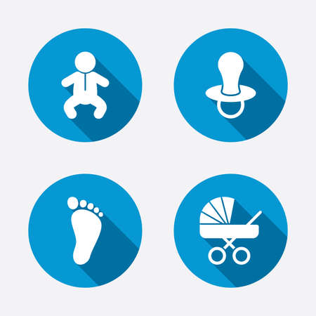 infant baby: Baby infants icons. Toddler boy with diapers symbol. Buggy and dummy signs. Child pacifier and pram stroller. Child footprint step sign. Circle concept web buttons. Vector
