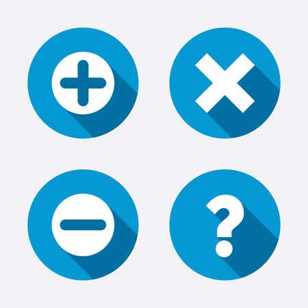 플러스와 마이너스 아이콘. 삭제 및 FAQ 마크 표시를 질문. 줌 심볼을 확대. 원 개념 웹 단추입니다. 벡터 일러스트