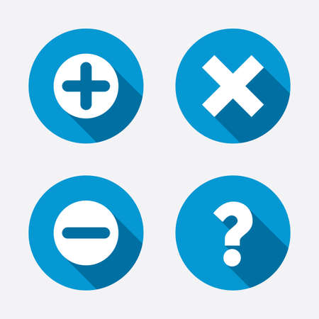 Plus and minus icons. Delete and question FAQ mark signs. Enlarge zoom symbol. Circle concept web buttons. Vector Vettoriali