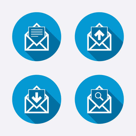 inbox: Mail envelope icons. Find message document symbol. Post office letter signs. Inbox and outbox message icons. Circle concept web buttons. Vector