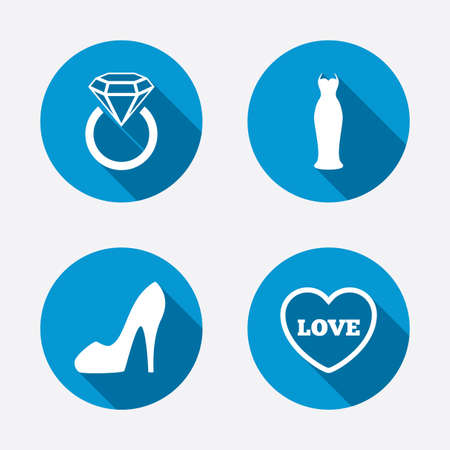 Wedding slim dress icon. Womens shoe and love heart symbols. Wedding or engagement day ring with diamond sign. Circle concept web buttons. Vector Vector