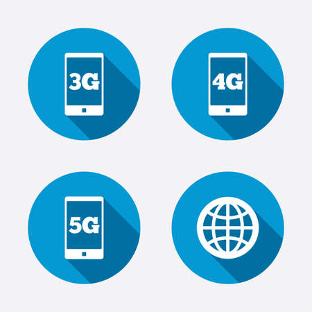 3g: Mobile telecommunications icons. 3G, 4G and 5G technology symbols. World globe sign. Circle concept web buttons. Vector Illustration