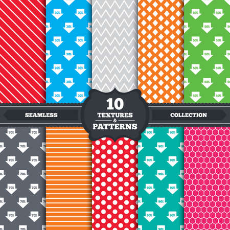 reductions: Seamless patterns and textures. Sale arrow tag icons. Discount special offer symbols. 30%, 50%, 70% and 90% percent discount signs. Endless backgrounds with circles, lines and geometric elements. Vector