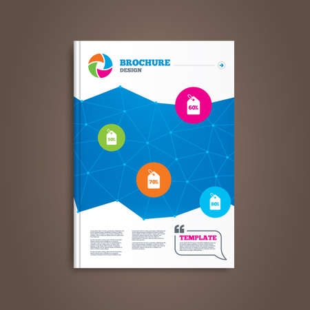 reductions: Brochure or flyer design. Sale price tag icons. Discount special offer symbols. 50%, 60%, 70% and 80% percent discount signs. Book template. Vector