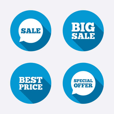 Sale icons. Special offer speech bubbles symbols. Big sale and best price shopping signs. Circle concept web buttons. Vector