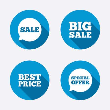 판매 아이콘. 특별 제공 음성 기호 거품. 큰 판매 및 최고의 가격 쇼핑 표지판입니다. 원 개념 웹 단추입니다. 벡터