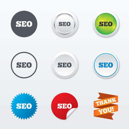 meta analysis: SEO sign icon. Search Engine Optimization symbol. Circle concept buttons. Metal edging. Star and label sticker. Vector