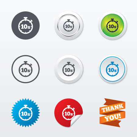seconds: Timer 10 seconds sign icon. Stopwatch symbol. Circle concept buttons. Metal edging. Star and label sticker. Vector Illustration