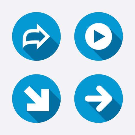 arrowhead: Arrow icons. Next navigation arrowhead signs. Direction symbols. Circle concept web buttons. Vector Illustration