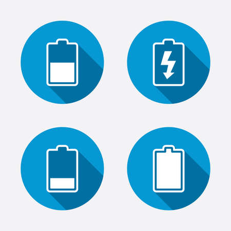 stored: Battery charging icons. Electricity signs symbols. Charge levels: full, half and low. Circle concept web buttons. Vector