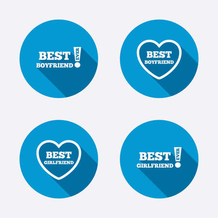boyfriend: Best boyfriend and girlfriend icons. Heart love signs. Awards with exclamation symbol. Circle concept web buttons. Vector Illustration
