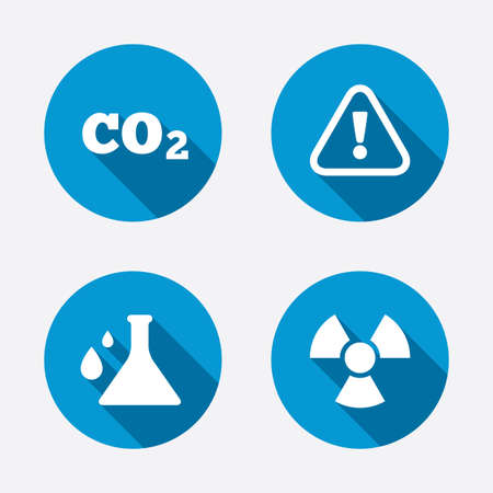 Attention and radiation icons. Chemistry flask sign. CO2 carbon dioxide symbol. Circle concept web buttons. Vector Vector