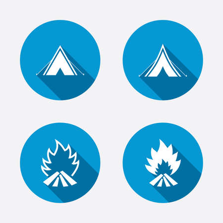 Tourist camping tent icons. Fire flame sign symbols. Circle concept web buttons. Vector Vector