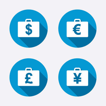 diplomat: Businessman case icons. Cash money diplomat signs. Dollar, euro and pound symbols. Circle concept web buttons. Vector Illustration