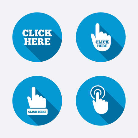 Click here icons. Hand cursor signs. Press here symbols. Circle concept web buttons. Vector Vettoriali