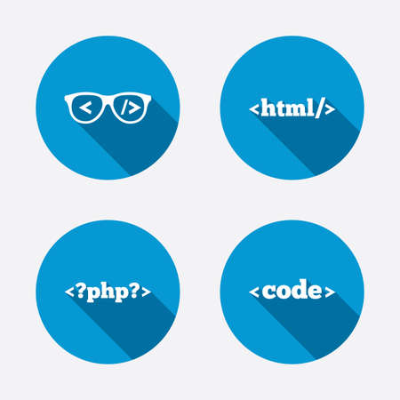coder: Programmer coder glasses icon. HTML markup language and PHP programming language sign symbols. Circle concept web buttons. Vector Illustration