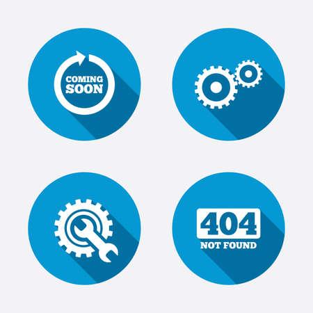 Binnenkort draaien pijl. Reparatie service-tool en versnelling symbolen. Wrench sign. 404 Niet Gevonden. Cirkel concept knoppen. Vector