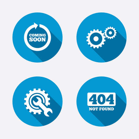 Coming soon rotate arrow icon. Repair service tool and gear symbols. Wrench sign. 404 Not found. Circle concept web buttons. Vector Çizim