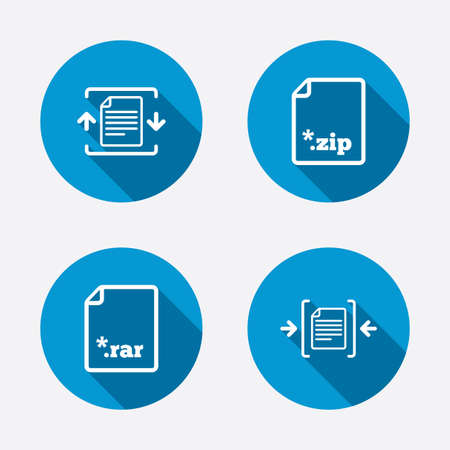 Archive file icons. Compressed zipped document signs. Data compression symbols. Circle concept web buttons. Vector