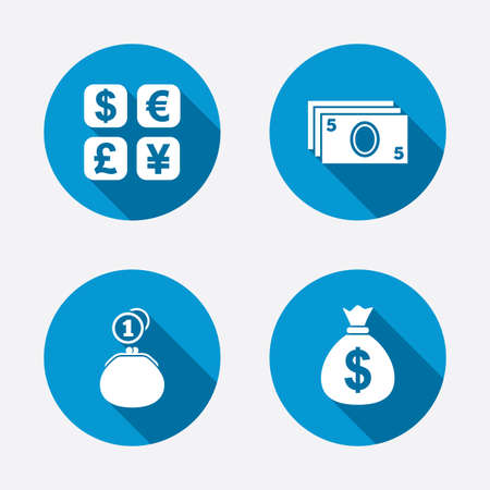 currency converter: Currency exchange icon. Cash money bag and wallet with coins signs. Dollar, euro, pound, yen symbols. Circle concept web buttons. Vector