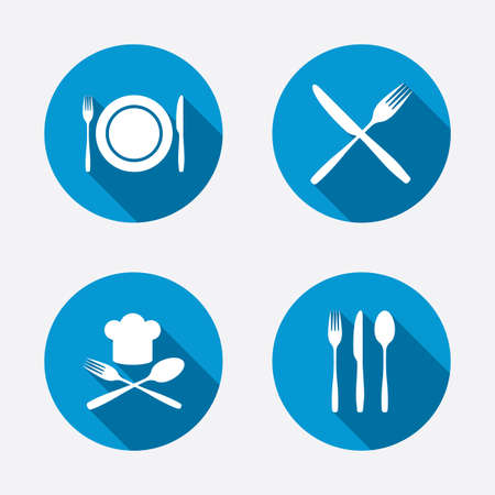 dining set: Plate dish with forks and knifes icons. Chief hat sign. Crosswise cutlery symbol. Dining etiquette. Circle concept web buttons. Vector Illustration