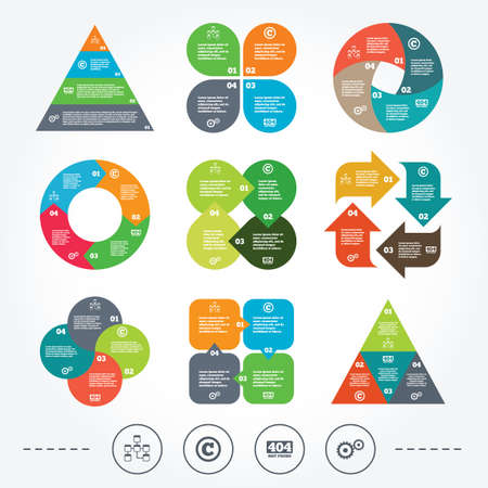 copyrights: Circle and triangle diagram charts. Website database icon. Copyrights and gear signs. 404 page not found symbol. Under construction. Background with 4 options steps. Vector Illustration