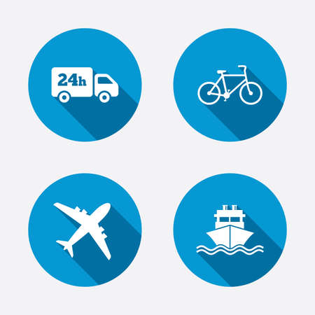Cargo truck and shipping icons. Shipping and eco bicycle delivery signs. Transport symbols. 24h service. Circle concept web buttons. Vector