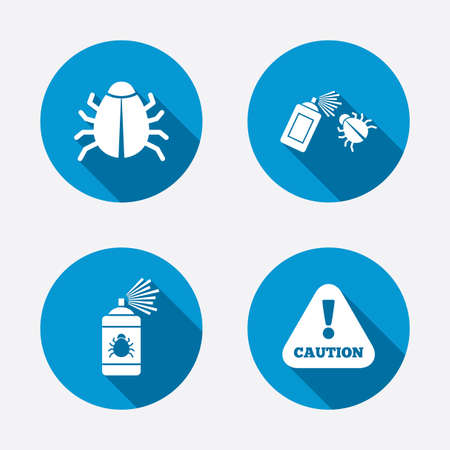disinfection: Bug disinfection icons. Caution attention symbol. Insect fumigation spray sign. Circle concept web buttons. Vector