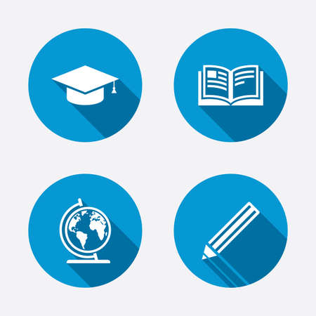 Pencil and open book icons. Graduation cap and geography globe symbols. Education learn signs. Circle concept web buttons. Vector Vector