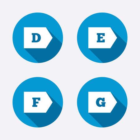 energy consumption: Energy efficiency class icons. Energy consumption sign symbols. Class D, E, F and G. Circle concept web buttons. Vector