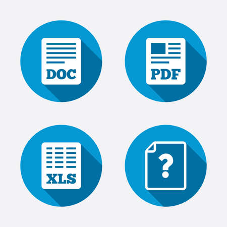 docs: File document and question icons. XLS, PDF and DOC file symbols. Download or save doc signs. Circle concept web buttons. Vector
