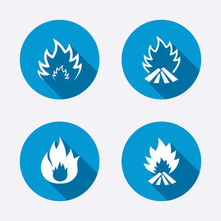 Fire flame icons. Heat symbols. Inflammable signs. Circle concept web buttons. Vector Illustration