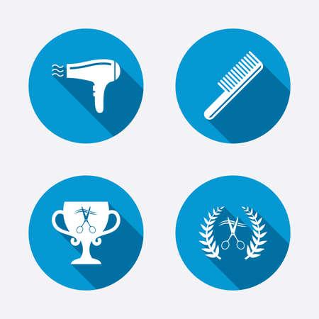 cut hair: Hairdresser icons. Scissors cut hair symbol. Comb hair with hairdryer symbol. Barbershop laurel wreath winner award. Circle concept web buttons. Vector