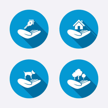 Helping hands icons. Shelter for dogs symbol. Home house or real estate and key signs. Save nature forest. Circle concept web buttons. Vector