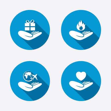 Helping hands icons. Health and travel trip insurance symbols. Gift present box sign. Fire protection. Circle concept web buttons. Vector Vector